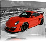 Rouge Porsche 911, la peinture sur toile, d'immenses photos XXL complètement encadrée avec civière, copie d'art de l'image de mur avec cadre, moins cher que la peinture ou une peinture à l'huile, pas une affiche ou une pancarte, Leinwand Format:60x40 cm