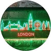 London City Skyline Silhouette Dual Color LED看板 ネオンプレート サイン 標識 緑色 + 赤色 400 x 300mm st6s43-i3277-gr