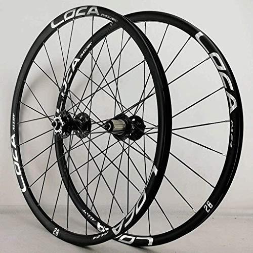 YZU Juego de ruedas para bicicleta de 26 pulgadas MTB de freno de disco de doble pared, llanta de aleación QR, 8 – 12 velocidades, rodamiento sellado 24H, G, 27.5 pulgadas