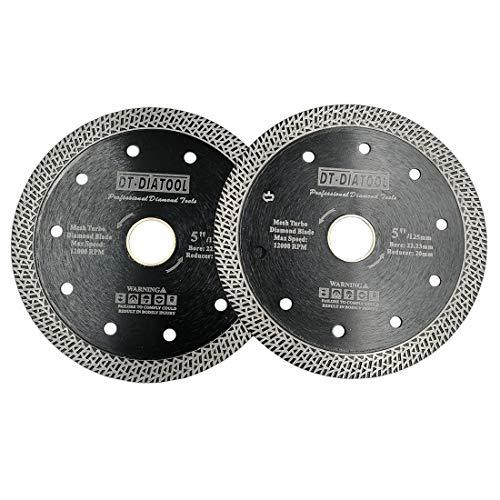 DT-DIATOOL Disco Tronzador Diamante 2 Piezas 125 mm Hoja de Sierra con Malla Turbo para Corte de Porcelanico Azulejos Mármol Granito Cerámica