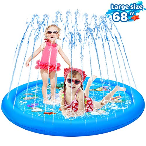 """KingsDragon Splash Pad Inflatable Sprinkler for Kids Outside Toys, 68"""" Sprinkle and Splash Play Mat Kiddie Baby Toddlers Swimming Wading Pool Outdoor Water Toys Gifts for 1-12 Year Olds"""