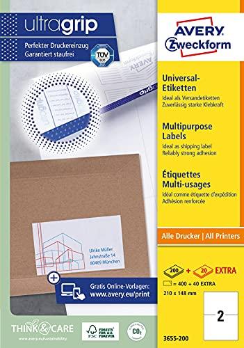 AVERY Zweckform 3655-200 Universal Etiketten (400 plus 40 Klebeetiketten extra, 210x148mm auf A4, bedruckbare Versandetiketten, selbstklebende Versandaufkleber mit ultragrip, DHL) 220 Blatt, weiß