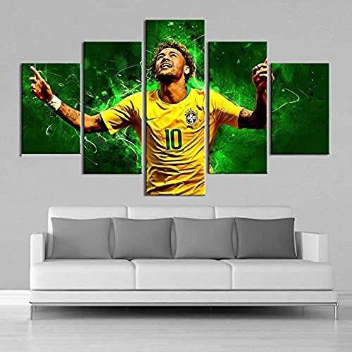 AREABP Brasilien Fußballstars Neymar 5 Stück Leinwand Wandkunst Ölgemälde HD-Druck auf Leinwand Moderne Dekoration Wandkunst gerahmt-ohne Rahmen