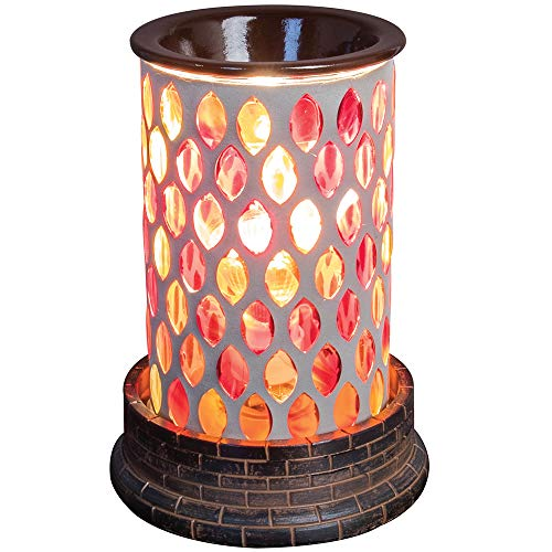 """Scentworks Majestic Sunset Mosaic Halogen Wax Melter, LED Timer Always On, 2 Hour, 4 Hour, 6 Hour Time Settings, 5"""" Round x 7"""" H"""