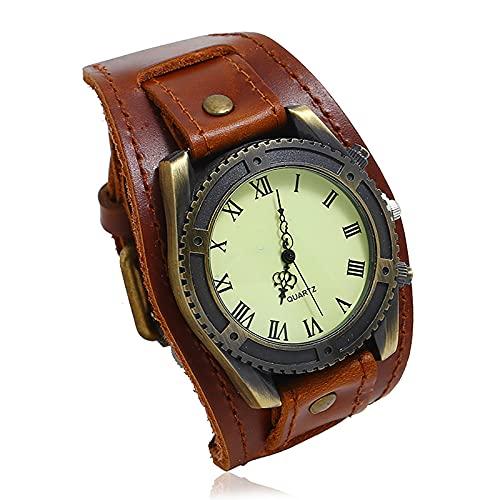 Shmtfa Relojes para Hombre Reloj De Pulsera De Cuarzo AnalóGico Vintage Pulsera De Cuero Ancha No Impermeable con Correa Ajustable para Accesorios De MuñEca con Personalidad(marrón)