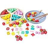 Holzperlen-Klassifizierungsplatte, Holzperlen-Klassifizierungsplatte Kinderbrettspiel, Farbe kognitive Mathematik-Fähigkeit Spielzeug, Früchte Spiele Puzzle-Gehirne Spielzeug for Kleinkind-Geschenke l