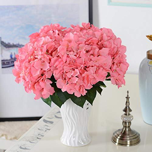 FILWHT - Flor Artificial de imitación para casa, Oficina, jardín, Patio, decoración al Aire Libre, 5 Hortensias Flores Rojas, 3 Piezas