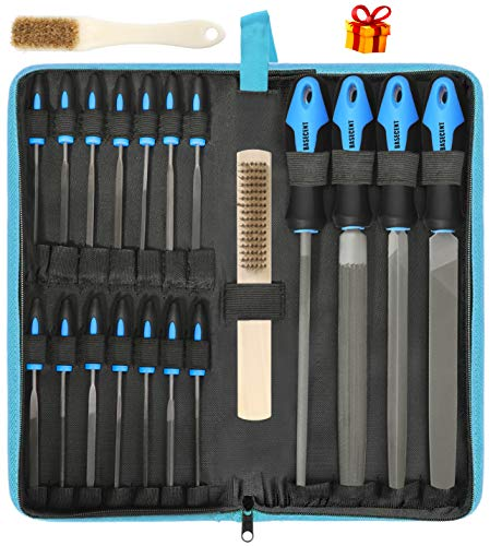 Basecent 20 Pcs Metal & Wood File Rasp Set, T12 High Carbon Steel Hand File Set Kit Including Flat, Round, Triangle, Half Round File and Needle Files, Craft Files Tools for Metal, Wood, Plastic 3D