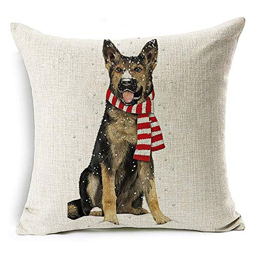 Amesii Christmas Dog Santa Claus Reindeer Cushion Cover Throw Pillow Case Sofa Decor - #13 Winter German Shepherd Dog