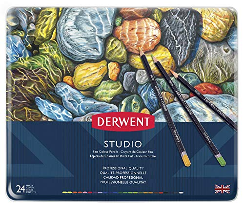 Derwent Studio Colored Pencils, 3.4mm Core, Metal Tin, 24 Count (32197)