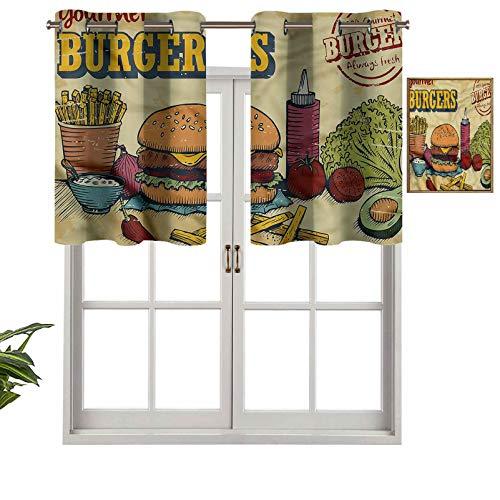 Hiiiman Cortina opaca con ojales en la parte superior, ingredientes hamburguesas, juego de 1, 106,7 x 45,7 cm, tratamiento de ventana para sala de estar, cenefa corta recta