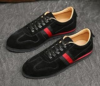 セレブシューズ メンズ 本革 牛皮 スエードレザーローカット ラインスニーカー 2色 ネイビー ブラック 靴くつ 24.5cm-26.5cm