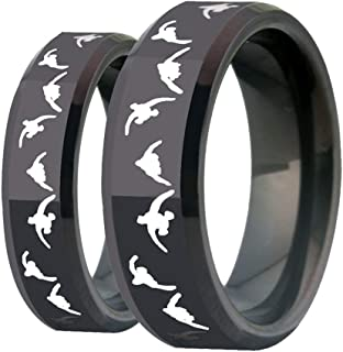 6mm/8mm Width Lover's Black Bevel Wedding Band with Laser Etched Bird Duck Hunting Outdoor Ring, Comfort Fit
