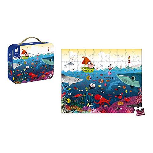 Janod - Puzzle con maleta redonda, El Mundo Submarino, 100 piezas (J02947)