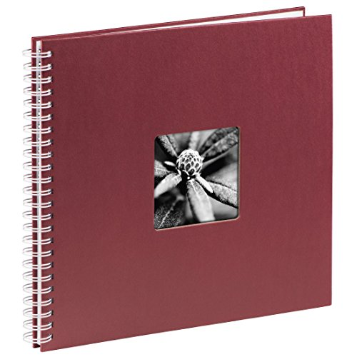 Hama Jumbo Fotoalbum, 36 x 32 cm, 50 weiße Seiten, 25 Blatt, mit Ausschnitt für Bildeinschub, Fotobuch bordeaux