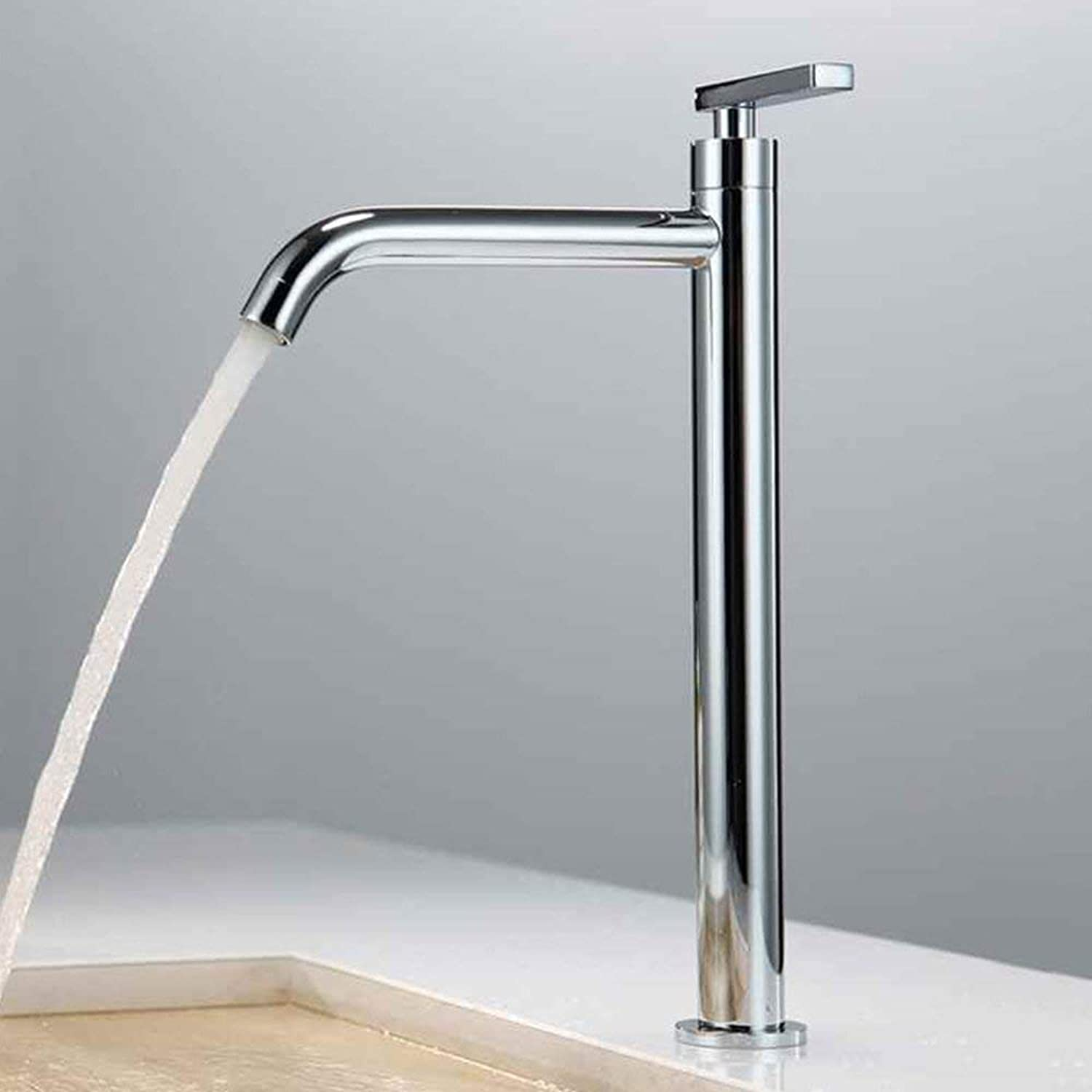 Chrome Cold Water Bath Faucet Tall Washbasin Faucet Single Lever Mixer Tap Washbasin Faucet Bathroom Faucet f.Bathroom with Longer Spout 59A Brass