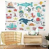 Y·JIANG Tapiz de dibujos animados, diseño de sirena, pulpo, tiburón, acuario, lindo, delfín, hogar, dormitorio, tapiz grande, manta para colgar en la pared para sala de estar, dormitorio, 203 x 152 cm
