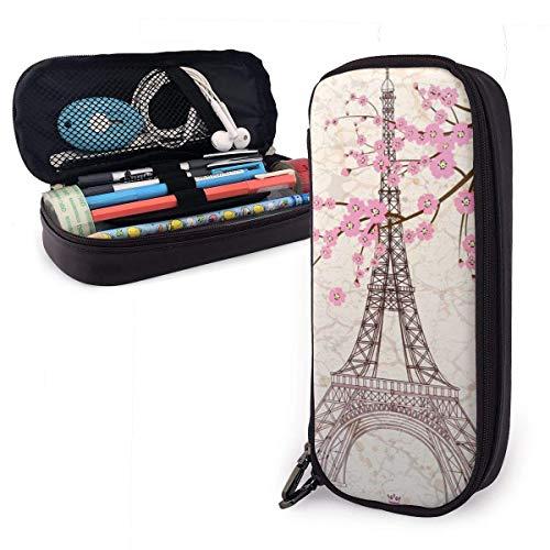 Estuche de lápices con cremallera multiusos para escuela, oficina, diseño de Torre Eiffel de París con flor de cerezo rosa