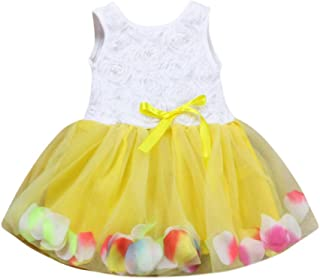 ANJUNIE Toddler Infant Bowknot Tutu Petals Tulle Splicing Dresses Girls Flower Gown Outfits Skirt