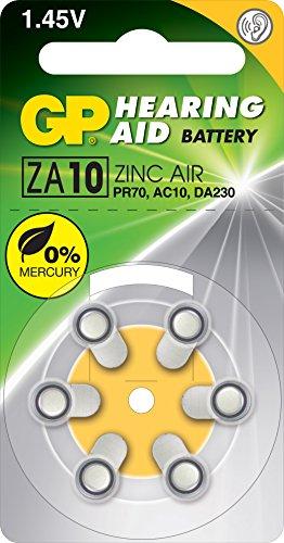 GP ZA10 Blister de 6 piles bouton zinc air compatible PR70/DA230/230HPX