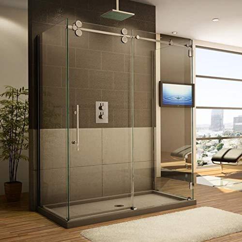 Herraje para Puerta Corredera Kit Riel colgante para puerta de ducha corrediza - Kit profesional de herrajes de acero inoxidable 100-200cm, accesorios para riel de polea silenciosa para puerta de vidr