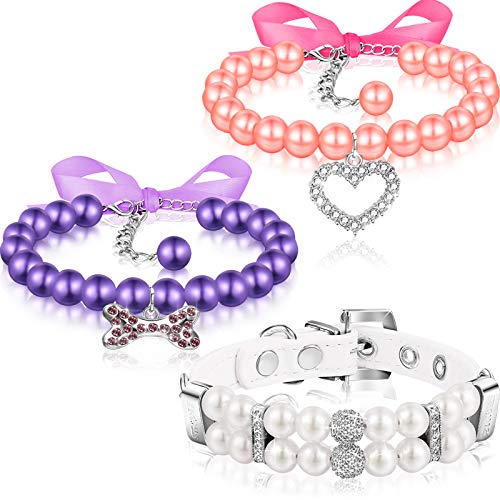 3 Pieces Pet Pearl Collars Crystal Pet Necklace Adjustable Pet Pearl Neck Strap PU Leather Pearl Collar Accessory with Rhinestone Diamond for Wedding Birthday Party 3 Colors