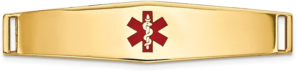 14k Yellow Gold Epoxy Enameled Medical famous Alert Soft Plate Ctr # Credence Id
