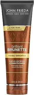 John Frieda Brilliant Brunette Visibly Brighter Subtle Lightening Conditioner, 8.3 Ounces, Eliminates Neutral Tones, Sleek...