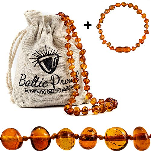 Baltic Amber Necklace and Bracelet Gift Set (Unisex Cognac 12.5 Inches/5.5 Inches) - Certified Premium Quality Raw Baltic Sea Amber
