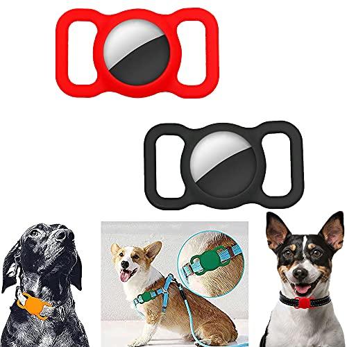 Funda Protectora para Airtags Finder Scratch Pet Loop Holder para Apple Air_Tag Seguimiento GPS Ajustable Perro Gato (Red+Black)