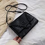 Mdsfe Vintage Fashion Chain Tote Bag 2020 New Quality PU Leather Women Designer Handbag Crocodile Pattern Shoulder Messenger Bag - Negro, 29 X 6 X 22 CM