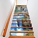 BLOUR PVC Tapete Wasserfall Grafiken, einfache 13 Stück DIY Treppenaufkleber, Stufenaufkleber, Wandaufkleber - 3