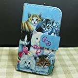 Cat Family Wallet Credit Card Slots Kickstand Flip case Cover for iPhone Samsung Galaxy Phone (Galaxy J1 Ace)