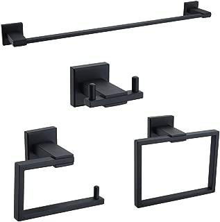 Turs 4 piezas accesorios de baño conjunto de sus 304 inoxidable acero inodoro soporte de papel toalla bar albornoz gancho toallero anillo soporte de montaje en pared, negro mate, Q6009B