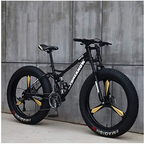 CDFC Fat Tire Hardtail - Bicicleta de montaña, 26', doble suspensión y horquilla de suspensión, color Black3Spoke, tamaño 27speed, tamaño de rueda 26.0