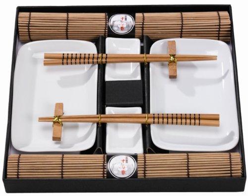 Tischgeschirr Japan Sushi Set, braun f. 2 Personen, Natur