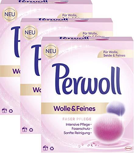 Perwoll 3er Pack Wolle & Feines, Faser Pflege Pulver für Wolle, Seide und Feines 18 (3 x6) Waschladungen