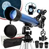 Telescopio Astronómico para niños Adultos Principiantes, Telescopio Refractor HD de 50 mm para Astronomía, con Trípode Ajustable, Adaptador para Smartphone