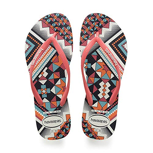 Havaianas Slim Tribal, Tongs Femme, Multicolore (White/Coral New Fluor 9489), 41/42 EU