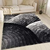 LA Soft Fluffy Large Plush Contemporary Braided Shaggy 8x10 Feet 3D Shag Area Rug Carpet Rug Black White Gray Color (280)