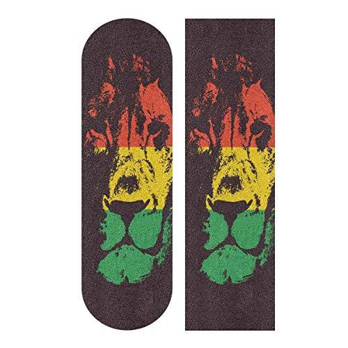 YYZZH Rasta Lion Head in Rot Gelb Grün Farbe Horizontal gestreift Skateboard Griptape 22,9 x 83,8 cm Rutschfestes Schleifpapier Longboard Scooter Griptape Blatt Aufkleber