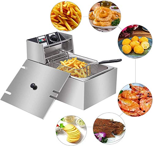 1yess Heavy Duty Deep Fryer,Easy Clean Fat Fryer with Removable Basket and Professional Heating Element,Chip Fryers Electric Pan for Home and Commercial EH81 2500W 220-240V 6.3QT/6L