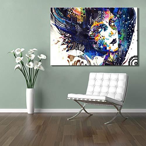 sanzangtang Moderne Computer-Kunst Poster und HD-Druck auf Leinwand Wandkunst Malerei abstrakte farbenfrohe Mädchen Dekoration Bild für Schlafzimmer Dekoration Rahmenlos 70x105cm