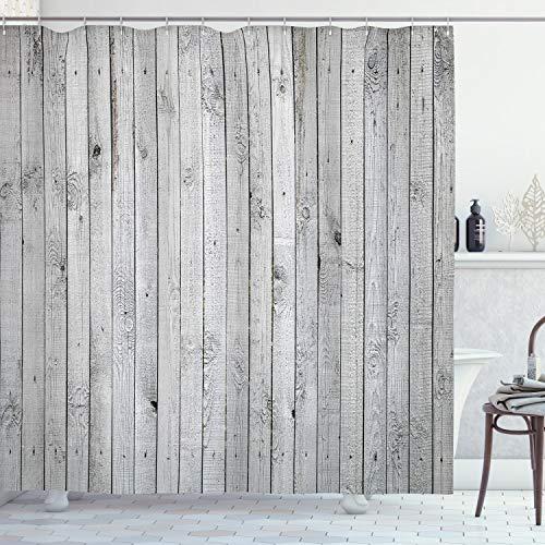 ABAKUHAUS Gris y Blanco Cortina de Baño, Junta Vertical, Material Resistente al Agua Durable Estampa Digital, 175 x 200 cm, Gris