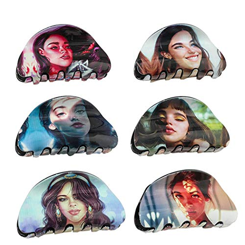 ZOYLINK 6 Pièces Poignée De Griffe De Cheveux Acrylique Créatif Portrait Pince à Cheveux Accessoires Pour Cheveux Pour Dames