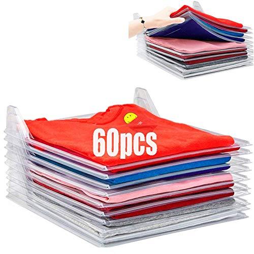 Nifogo Organizer per Armadio, Closet Organizer Camicia Cartella | Dimensioni Regolari, 60-Pack(Bianco)