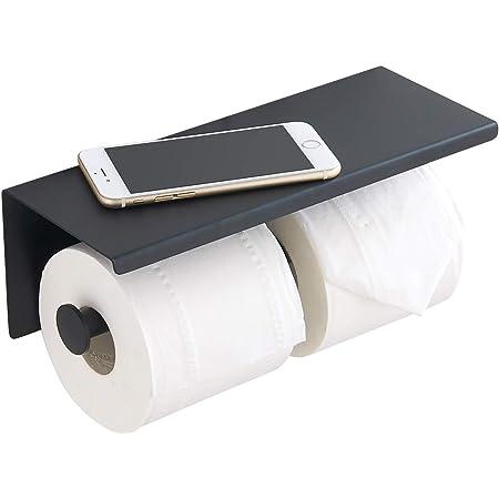 Porte-Papier Toilette, Support Mural en Acier Inoxydable, Double Rangement pour Papier Toilette, Noir Mat