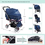IREENUO Pet Trolley Cart, 4 Wheels Foldable Pram for Cat Dog, 360° Rotation Front Wheel Pet Travel Stroller, Quick Folding, Max Loading 30kg - Blue 9