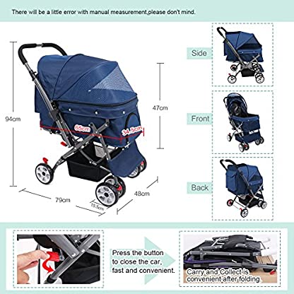 IREENUO Pet Trolley Cart, 4 Wheels Foldable Pram for Cat Dog, 360° Rotation Front Wheel Pet Travel Stroller, Quick Folding, Max Loading 30kg - Blue 2