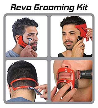 Revo Haircut Kit - Beard Hair Goatee and Neckline Shaving Template Guide - Perfect Hairline Lineup and Beard Shaping Tool - Hair Cutting and Grooming Kit - Barber Supplies